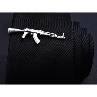 【マシンガン ネクタイピン】シルバー カフスボタン 機関銃 タイピン ネクタイ(ネクタイピン)