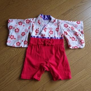 りい様専用 ロンパース カバーオール 着物 和装  70 80 花柄 赤ピンク(和服/着物)