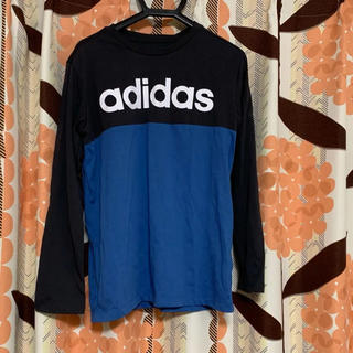 アディダス(adidas)のアディダス 長袖Tシャツ ブラック ブルー(Tシャツ(長袖/七分))