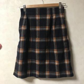 ミスティウーマン(mysty woman)の台形チェックスカート(ひざ丈スカート)