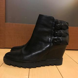 アッシュ(ASH)のASH 黒本革 ショートブーツ インヒール ブラック(ブーツ)
