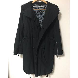 カミシマチナミ(KAMISHIMA CHINAMI)の定7万カミシマチナミ 黒ロングコート size40 kamishima フード(ロングコート)