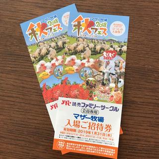 マザー牧場の入場ご招待券の2枚セット(動物園)