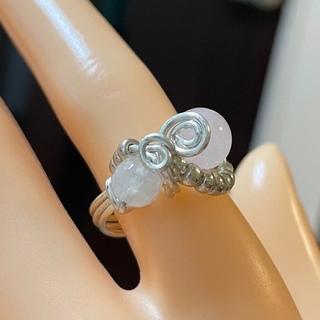 新品 ローズクォーツとムーンストーンのリング 15号(リング(指輪))