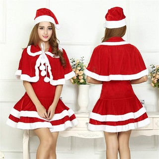 f03d53848ad19 4Lサイズ☆ケープと帽子付きサンタクロースワンピース☆コスプレ☆大きいサイズ(衣装