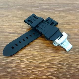 社外品 パネライ腕時計用 24mm Dバックル付き ラバーベルト(レザーベルト)