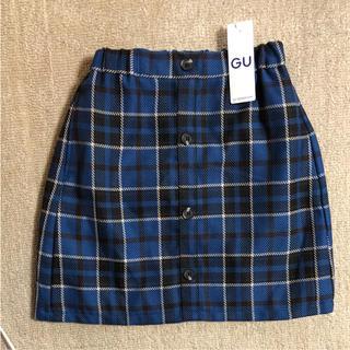 ジーユー(GU)のGU  ♡ キッズ ガールズ ブルーチェックスカート(スカート)