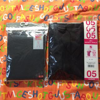 ユニクロ(UNIQLO)のヒートテック タイツ メンズ ブラック L & M ブラック VネックTシャツ(レギンス/スパッツ)
