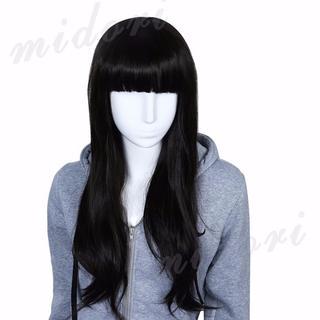 前髪パッツン フルウィッグ 黒髪 ストレート 耐熱素材 アイロンOK (ロングストレート)