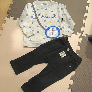 シマムラ(しまむら)のドラえもん トレーナー セット ブラック パンツ 90 西松屋 ユニクロ(パンツ/スパッツ)
