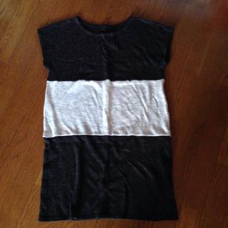 ノースリーブ チュニック セーター 薄手 グレー L  平置き 横47 縦84(チュニック)