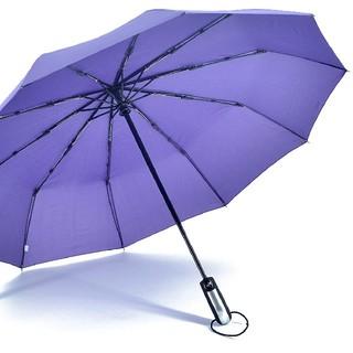 新品 折り畳み傘 ワンタッチ自動開閉 10本骨 1.05m 晴雨兼用 パープル(傘)