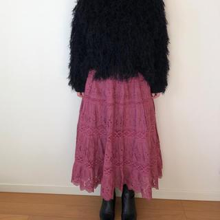 vintage  コットンスカート 古着スカート レーススカート(ロングスカート)