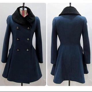 ヴィヴィアンウエストウッド(Vivienne Westwood)のviviennewestwood ファー襟ウールコート レア(ロングコート)