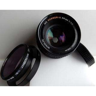 コニカミノルタ(KONICA MINOLTA)のミラーレスに最適の標準50mm f1.7 Minolta レンズ!(レンズ(単焦点))