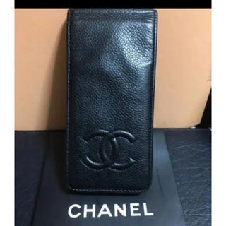 シャネル(CHANEL)の本物シャネル黒キャビアスキンココマークのスマホケースI-phone5/5S/SE(iPhoneケース)