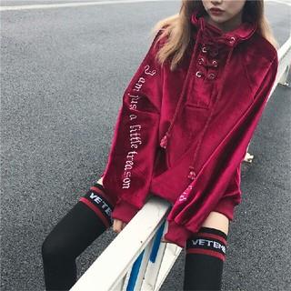 新作 韓国 厚手 刺繍 ベルベット トレーナー パーカー 人気赤(パーカー)
