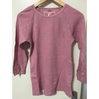 ゴーヘンプ(GO HEMP)のgo hemp  ゴーヘンプ 7分袖 ワッフルTシャツ ピンク M(Tシャツ/カットソー(七分/長袖))