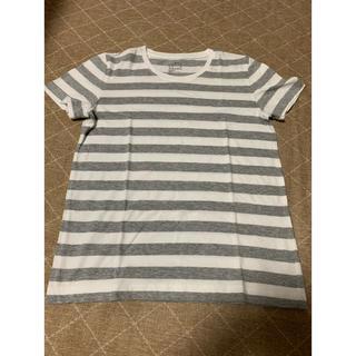 MUJI (無印良品) - 無印良品 新品 レディースSサイズ ボーダー Tシャツ グレー×ホワイト 半袖
