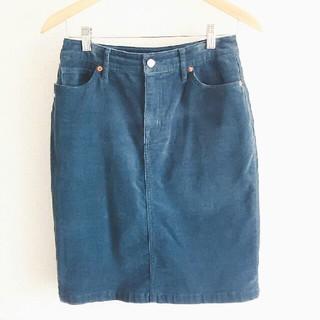 ムジルシリョウヒン(MUJI (無印良品))の無印良品 コーデュロイスカート ネイビー 61(ひざ丈スカート)