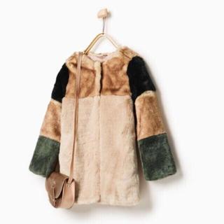 ザラ(ZARA)のZARA マルチカラー ファーコート(毛皮/ファーコート)