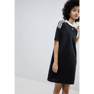 アディダス(adidas)の【Sサイズ】新品タグ付 adidas ワンピース トレフォイル ロゴ ブラック(ミニワンピース)