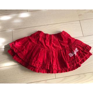 ベビードール(BABYDOLL)の《極美品》スカート 80 コーデュロイ 赤 レッド チュチュ フリル(スカート)
