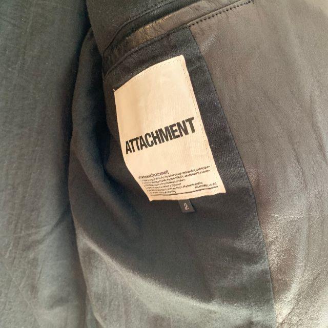 ATTACHIMENT(アタッチメント)の【ATTACHMENT】ラムレザーダブルライダースジャケット 黒【Size:2】 メンズのジャケット/アウター(ライダースジャケット)の商品写真