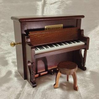 ミニアンティーク アップライトピアノオルゴール ムーンリバー