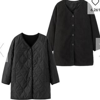 ジーユー(GU)のリバーシブルキルティングコート XL ブラック(ノーカラージャケット)