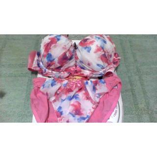 シマムラ(しまむら)のしまむら購入品 花柄フリル下着セット 新品未使用(ブラ&ショーツセット)
