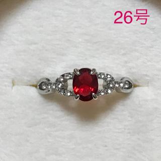 リング 指輪 CZ ダイヤ シンセティック ルビー 26号 大きいサイズ(リング(指輪))