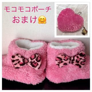 アベイル(Avail)のリボン🎀  モコモコ靴下  ソックスブーツ  ルームシューズ〔20〜22㎝〕(靴下/タイツ)