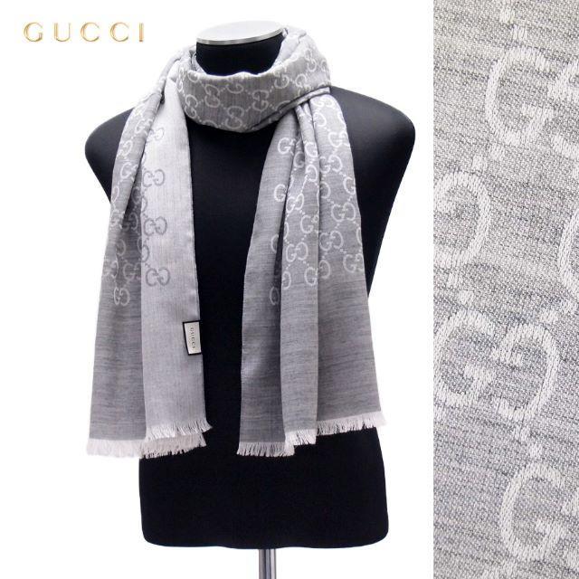 Gucci(グッチ)の18 GUCCI マフラー/ストール 男女兼用 SILK混合 ライトグレー レディースのファッション小物(マフラー/ショール)の商品写真