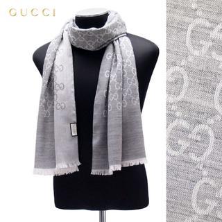 グッチ(Gucci)の18 GUCCI マフラー/ストール 男女兼用 SILK混合 ライトグレー(マフラー/ショール)