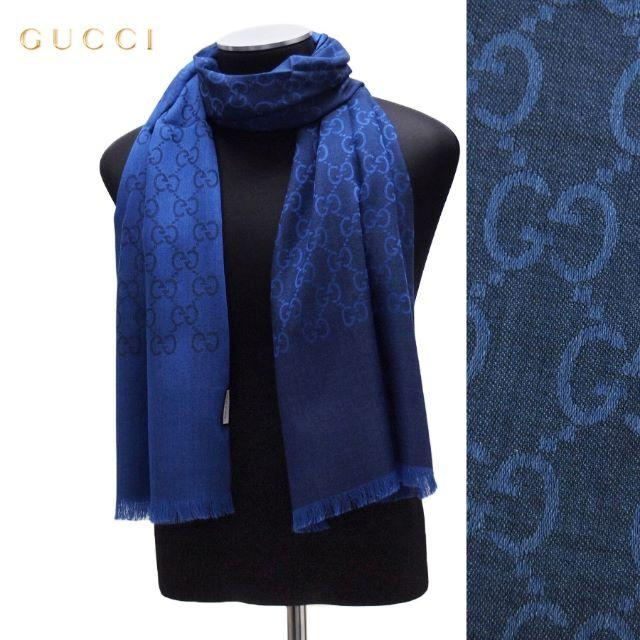Gucci(グッチ)の20 GUCCI マフラー/ストール 男女兼用 SILK混合 デニムブルー レディースのファッション小物(マフラー/ショール)の商品写真