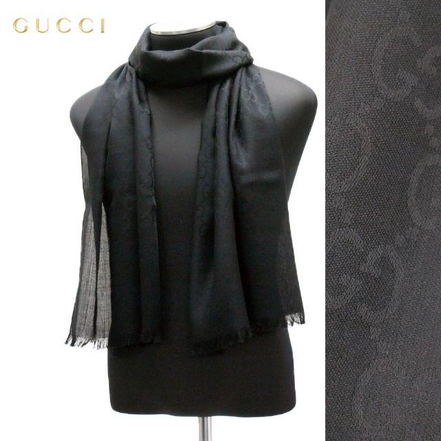Gucci(グッチ)の21 GUCCI マフラー/ストール 男女兼用 SILK混合 ブラック レディースのファッション小物(マフラー/ショール)の商品写真
