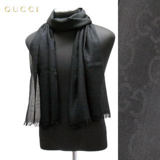 グッチ(Gucci)の21 GUCCI マフラー/ストール 男女兼用 SILK混合 ブラック(マフラー/ショール)