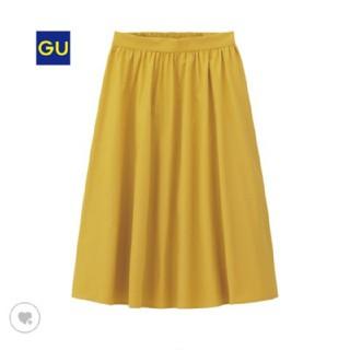 ジーユー(GU)のGU イージーカラーフレアスカート イエロー(ひざ丈スカート)