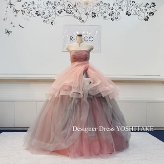 ウエディングドレス(無料パニエ) ピンク・グレイチュールドレス 披露宴/二次会(ウェディングドレス)