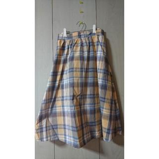 ジーユー(GU)のマドラスチェックフレアミディスカート(ひざ丈スカート)