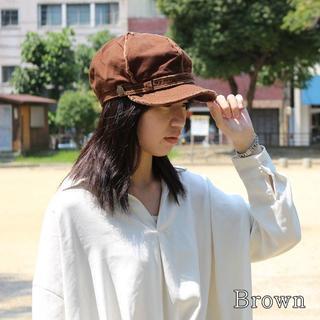 帽子 レディース メンズ ウオッシュ キャスケット太ステッチ ブラウン 洗濯OK(キャスケット)