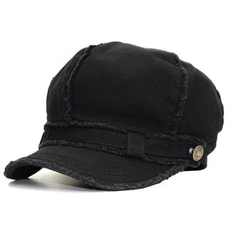 帽子 レディース メンズ ウオッシュ キャスケット太ステッチ ブラック 洗濯OK(キャスケット)