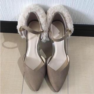ジーユー(GU)の【未使用】ファー付きヒールパンプス(ブーツ)
