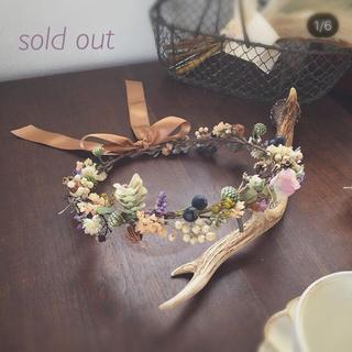 [限定1個]ガーデンウェディングにも合う木ノ実と小花たちの花かんむり(ヘッドドレス/ドレス)