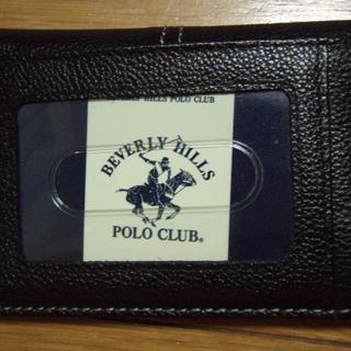 ビバリーヒルズポロクラブ(BEVERLY HILLS POLO CLUB(BHPC))ののりまき様専用 バリーヒルズポロクラブ 二つ折り定期入れ 牛革 黒(名刺入れ/定期入れ)