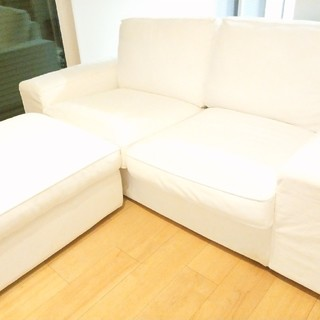IKEA - IKEA ソファ & スツール 白カバー