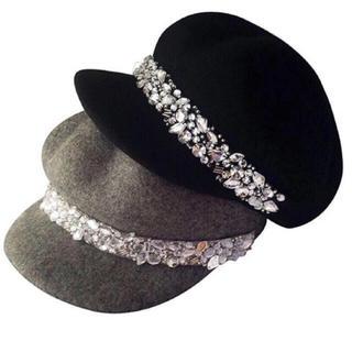 キラキラ ビジュー キャスケット ベレー帽 帽子 インポート (キャスケット)