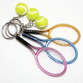 ミニチュア・テニスボールとラケットのキーホルダー 3点セット(その他)