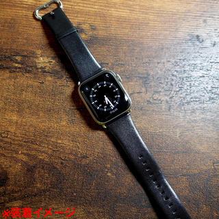 アップルウォッチ(Apple Watch)の【Memumi】Apple Watch 38/40mm ブラック革バンド(ラバーベルト)